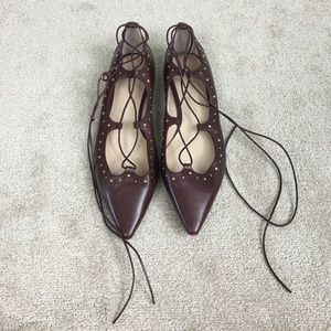 Massimo Dutti maroon lace up pointy toe flats- 11